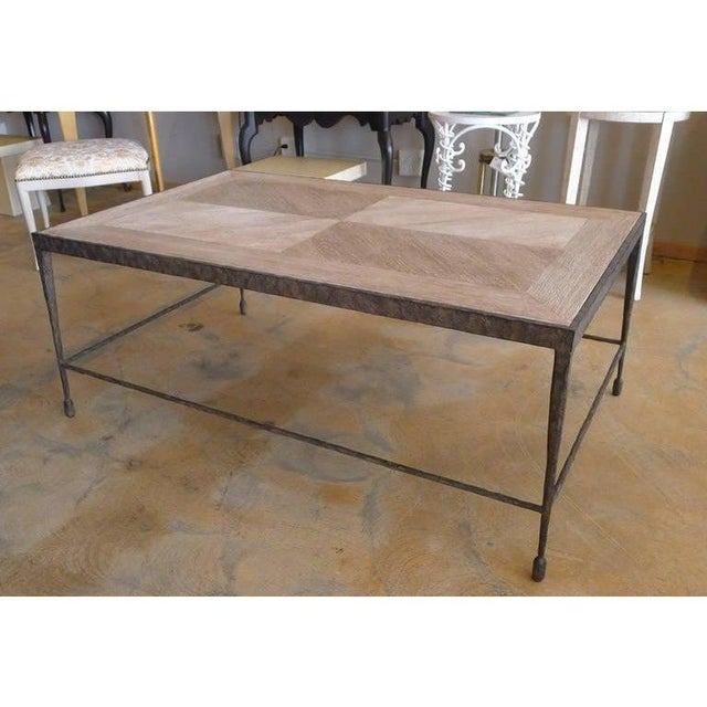 Paul Marra Paul Marra Design Textured Iron Coffee Table With Distressed Oak Top For Sale - Image 4 of 4