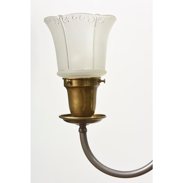 Five Light Pewter and Brass Colonial Revival Chandelier For Sale - Image 11 of 12