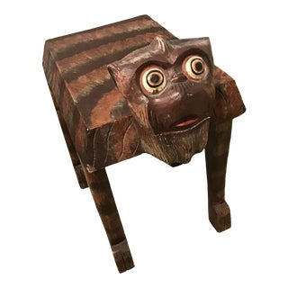 Vintage Hand Painted & Carved Wood Monkey Side Table For Sale