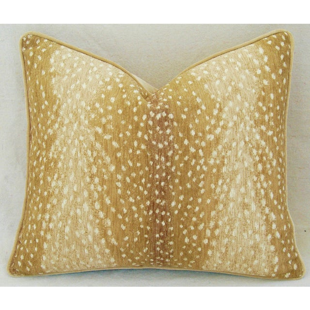 "Yellow Custom-Tailored Antelope Fawn Spot Velvet Feather/Down Pillows 21"" X 18"" - Pair For Sale - Image 8 of 10"