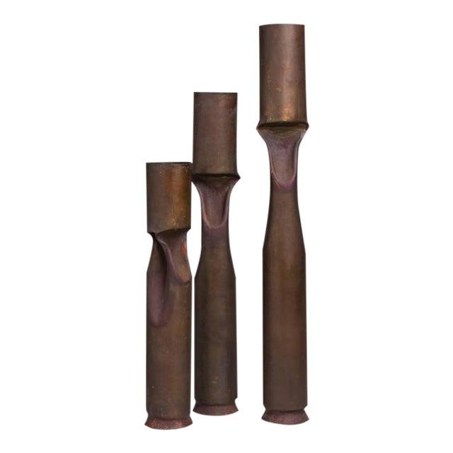 Set of Three Oversized Brutalist Copper Vases, Stamped - Image 1 of 4