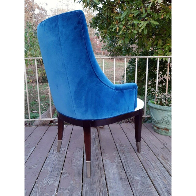 """Caracole """"You'Re Invited"""" Blue and White Upholstered Side Chair For Sale - Image 6 of 13"""