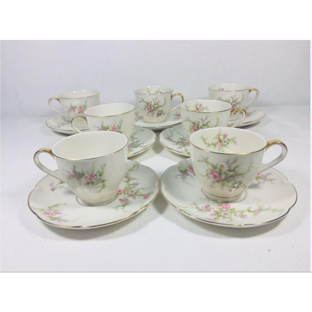 Traditional 1930s Haviland Rosalinde Demistasse Cups and Saucers Set of 14 For Sale - Image 3 of 12