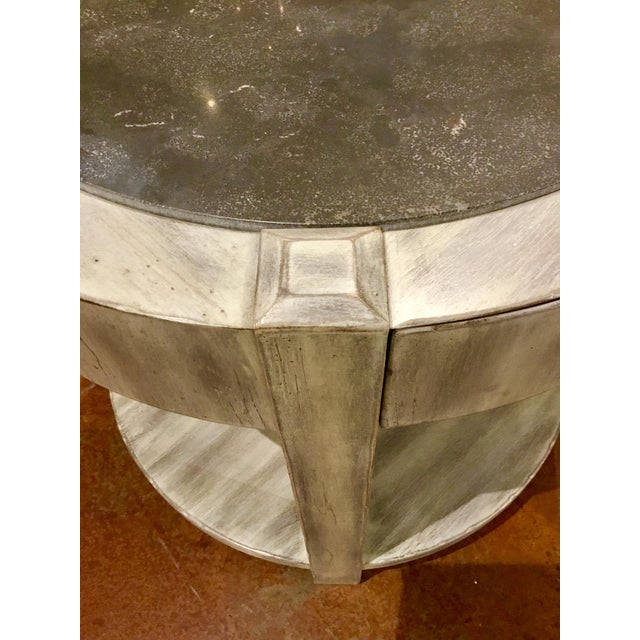 2010s Drexel Heritage Modern Off-White Antique Wood & Stone Top Round Jule End Table For Sale - Image 5 of 7