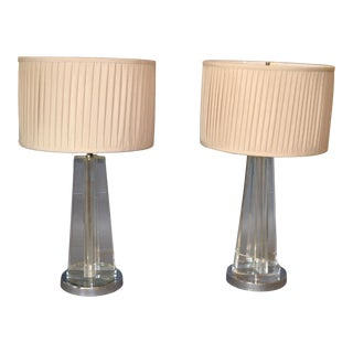 Mid-Century Modern Cross Crystal & Chrome Table Lamps With Plisse Shades - a Pair For Sale