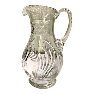 Late 20th Century Modern Cut Crystal Pitcher With Applied Handle For Sale