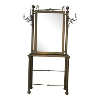 Solid Brass Console Mirror & Table with Coat Hooks