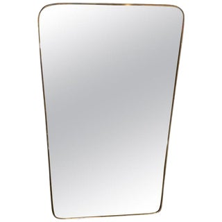 Gio Ponti Attributed Minimal Brass Mirror, Italy, 1950s For Sale