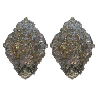 19th C. Dutch Silver Plate Sconces - A Pair For Sale