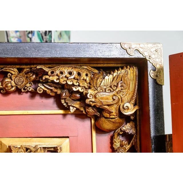 Chinese lacquered cabinet on stand For Sale - Image 9 of 11
