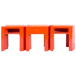 1970s French Red Fiberglass Tables - Set of 3