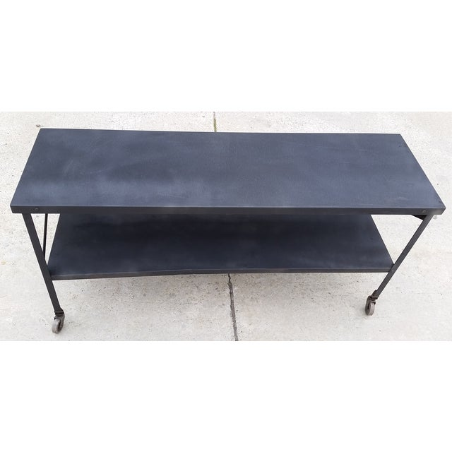 Industrial Metal Console Table on Casters - Image 7 of 10
