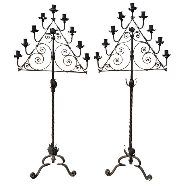 Wrought Iron Candelabras - A Pair For Sale - Image 5 of 5