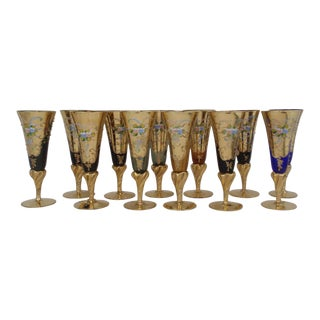 Murano 22k Gold Gilded Champagne Flutes - Set of 12