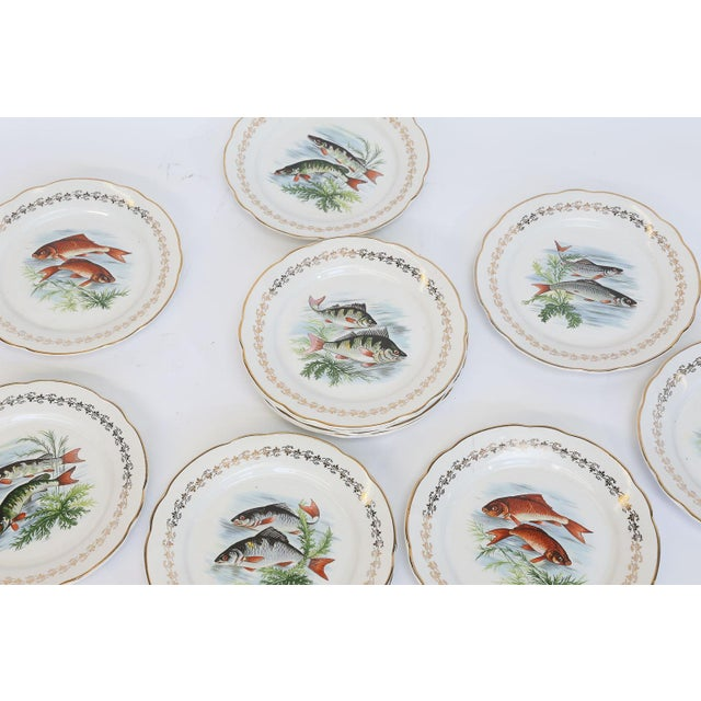This is a set of twelve Digoin & Sarreguemines porcelain plates. The plates are transfer printed with six different...
