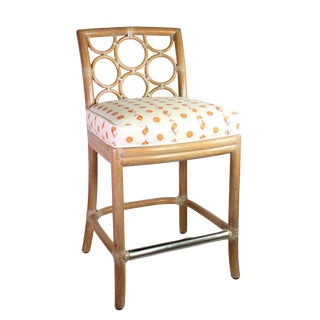 Vintage McGuire of San Francisco Bamboo Bar Chair Upholstered in Kathryn M Ireland Linen For Sale