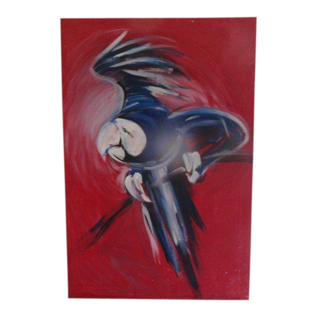 Flying Blue Parrot Original Painting - Image 1 of 6