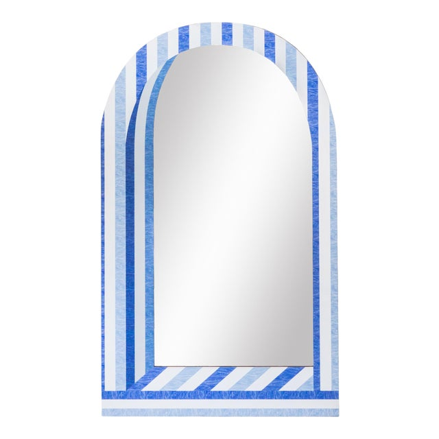 Fleur Home x Chairish Palm Orleans Cabana Stripe Short Mirror For Sale
