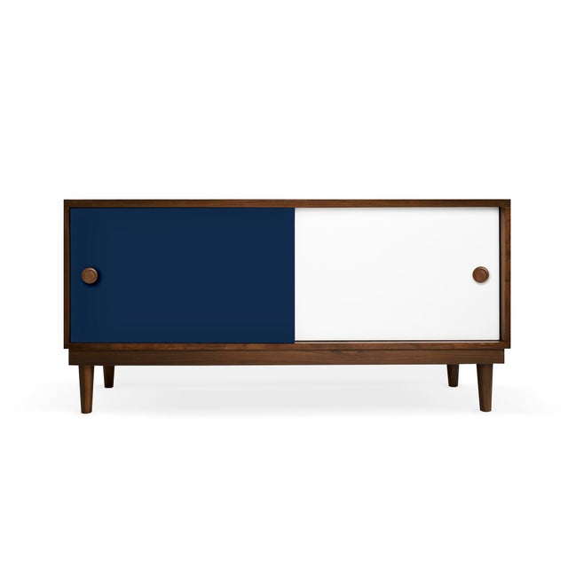 Contemporary Lukka Modern Kids Credenza Console in Walnut With Deep Blue Finish For Sale - Image 3 of 3