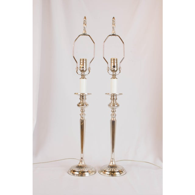Metal Silverplate Candlestick Lamps - A Pair For Sale - Image 7 of 7