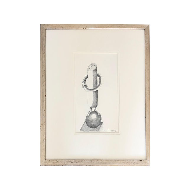 1950s Vintage Jobert Yves French Ink on Paper Drawing For Sale - Image 4 of 5