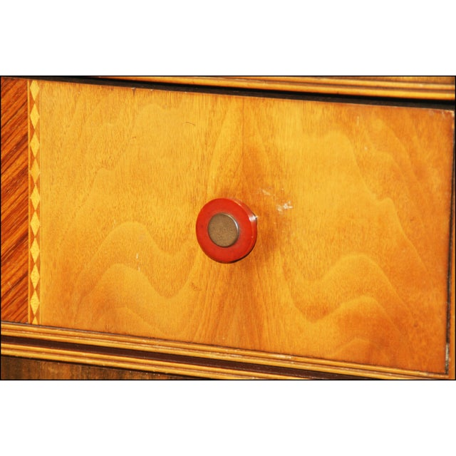 Art Deco Waterfall Dresser With Bakelite Drawer Pulls For Sale - Image 5 of 11
