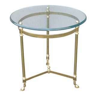 Vintage LeBarge Hollywood Regency Round Brass Hoof Feet End Table For Sale