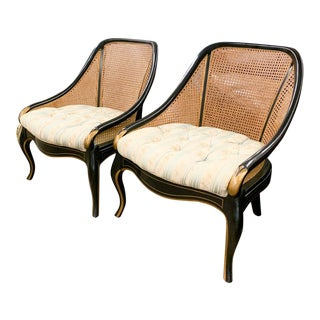 Pair, Neoclassical Club Chairs in Black For Sale