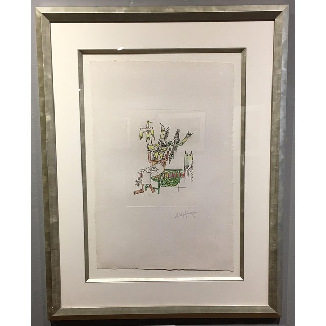 This is a unique etching by Wifredo Lam embellished with watercolor on handmade paper. 1979-80. Signed ad numbered. Lam...