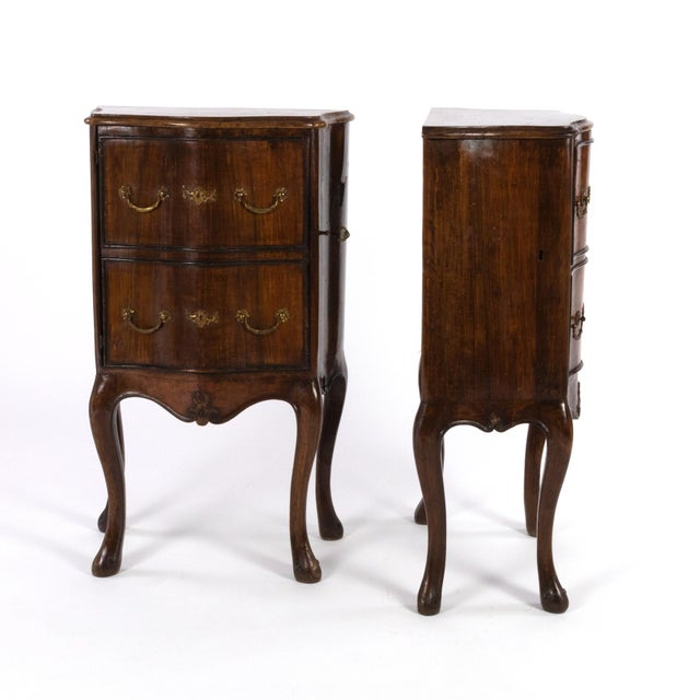 Italian 1890 Pair of Italian Walnut Bedside Tables With Carved and Ebonized Details, Each With Faux Drawer Front Single Doors For Sale - Image 3 of 13