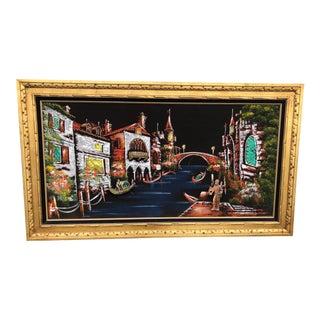 1970s Venetian Scene Lit Velvet Painting, Framed For Sale