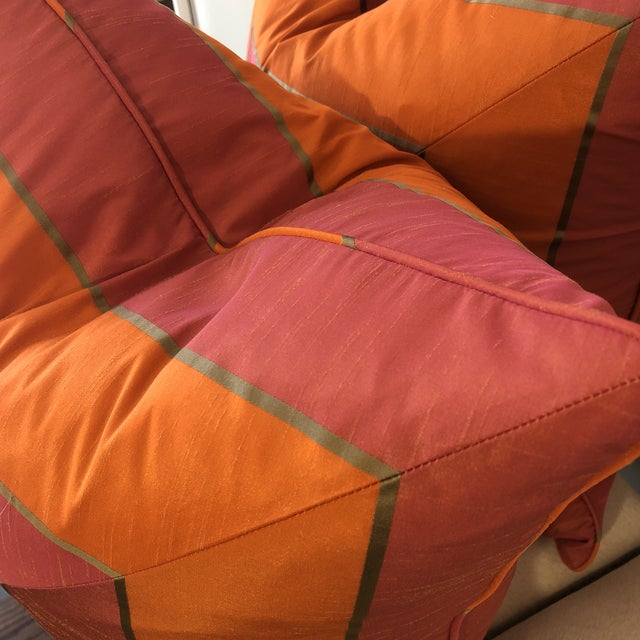"""2010s Bright Pink and Tangerine Silk Mitered Stripe 22"""" Pillows-A Pair For Sale - Image 5 of 6"""