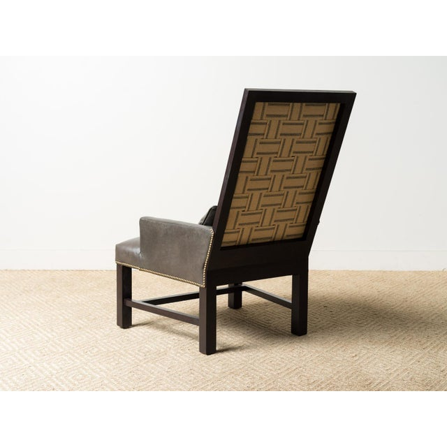 Lee Industries Leather Webbed Back Chair For Sale - Image 6 of 7