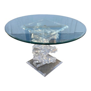 Modern Stacked Lucite Helix Spiral Base Center Table For Sale