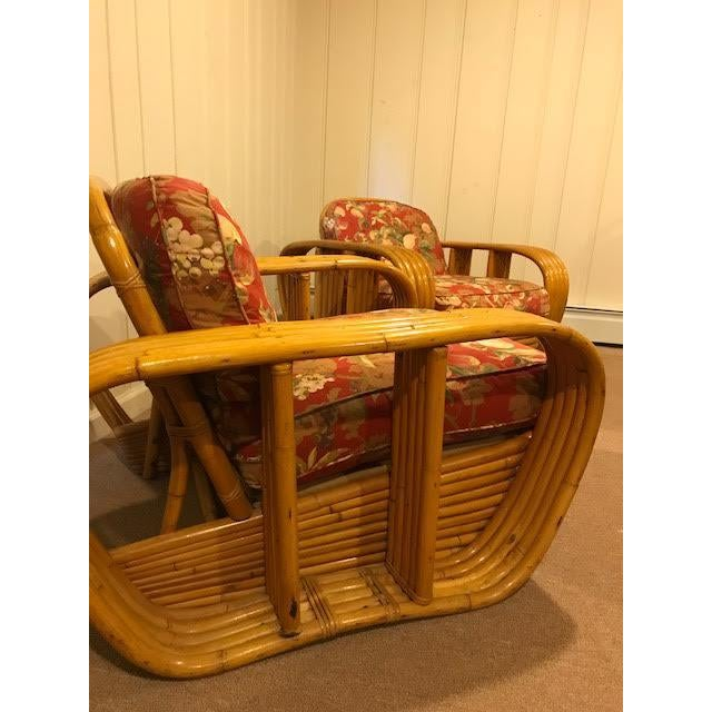 Green Mid-Century Vintage Paul Frankl Style Bamboo Rattan Lounge Chairs - a Pair For Sale - Image 8 of 11