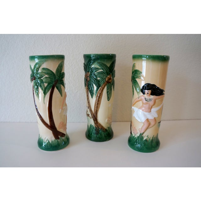 Vintage Harveys Hula Girl Palm Tree Tiki Mugs - 3 - Image 5 of 5