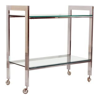 1970s Mid Century Modern Milo Baughman for Dia Chrome & Glass Bar Cart For Sale