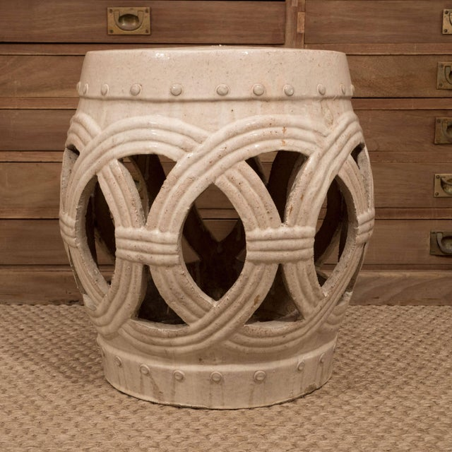 Cream A Chinese Ceramic Garden Stool For Sale - Image 8 of 9