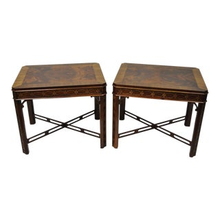 Drexel Heritage Chinese Chippendale Flame Mahogany Lamp End Tables - a Pair