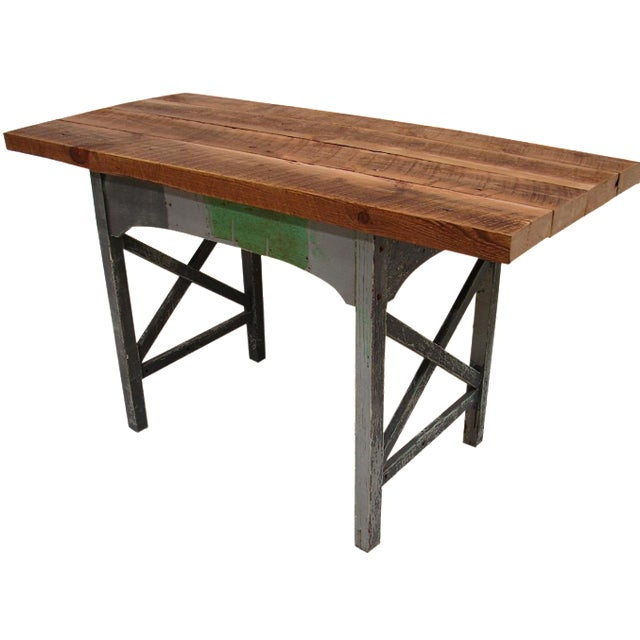 Reclaimed Heart Pine Small Harvest Table or Desk - Image 1 of 4