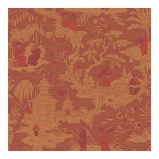Chinese Toile Red Cole & Sons Wallpaper Sample For Sale
