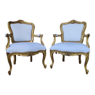 Vintage White and Gold Louis XV Chairs - a Pair For Sale