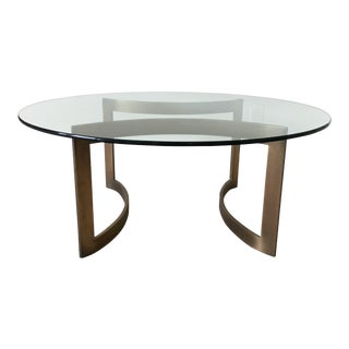 Custom Glass and Brass Coffee Table For Sale