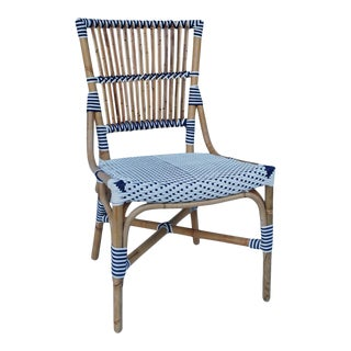 Madrid Side Chair, White, Rattan For Sale