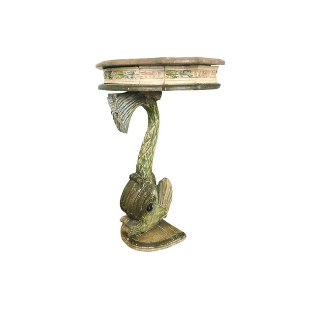 Rococo Antique Painted Carved Demi-Lune Table Stand For Sale - Image 3 of 12
