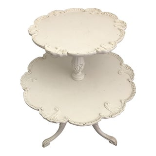 Antique Two-Tiered Pie Crust Shabby Chic Side Table For Sale