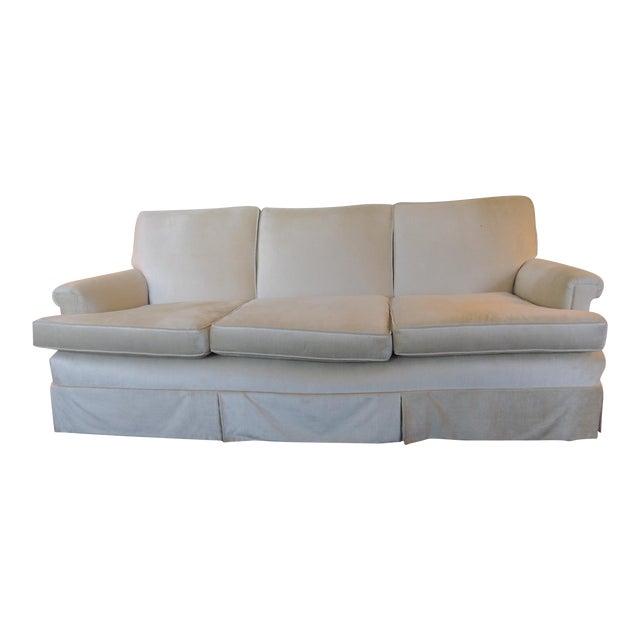 Vintage Long Three Cushion Velvet Upholstered Sofa For Sale