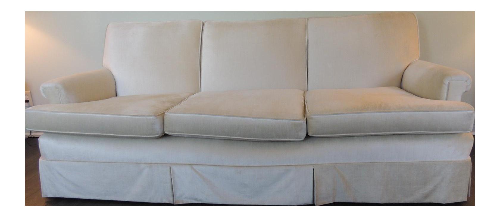 Genial Vintage Long Three Cushion Velvet Upholstered Sofa