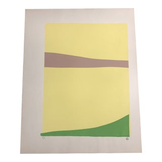 Minimalist Yellow, Green & Taupe Hand Painted Serigraph 4/10 by Geoffrey Graham For Sale
