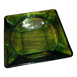 Vintage Green Glass Ashtray For Sale